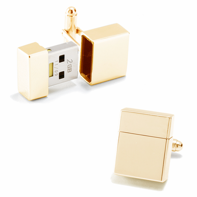 2 GB Flashdrive Cufflinks In Gold, Silver Or Gunmetal By Ravi Ratan