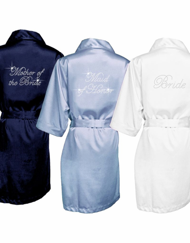 SALE! Rhinestone Personalized Satin Robes