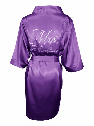Custom Ultimate Bling Rhinestone Mrs. Robe in Luxurious Satin