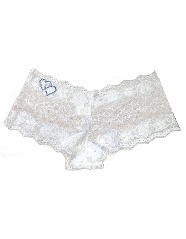 White Lace Shorties with Optional Rhinestone Double Hearts