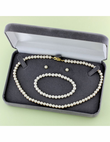 Child's Pearl Necklace, Earring & Bracelet Box Set