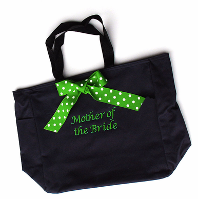 Personalized Wedding Party Tote with Polka Dot Bow