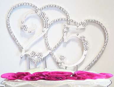 Renaissance Double Heart with Numbers Anniversary Cake Topper or Birthday Cake Topper