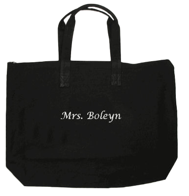 Embroidered Personalized Zippered Tote Bag in Colors