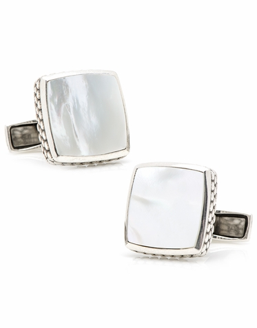 Classic Sterling Silver And Mother Of Pearl Cufflinks