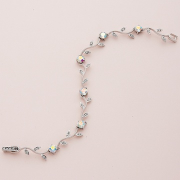Silver Vine Pattern Bracelet with AB Crystals