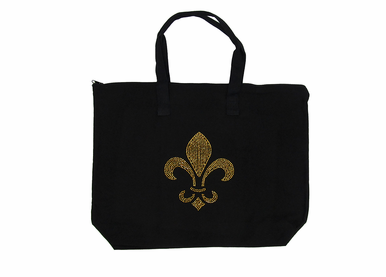 Fleur de Lis Tote Bag in Canvas - Jumbo Size! - Personalize It!