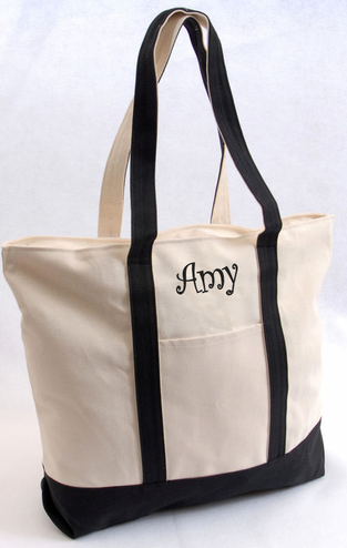 Personalized Tote Bag with Name or Initial - Custom Tote Bag