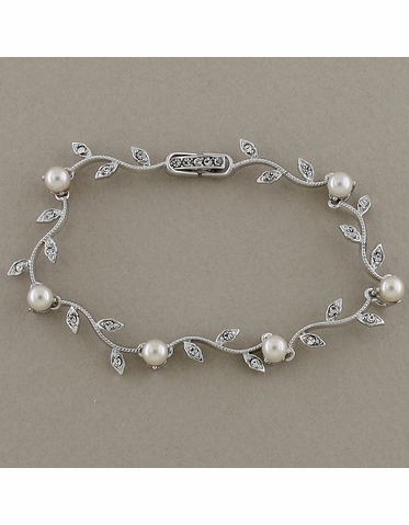 Silver Vine Pattern Bracelet with CZ and White Pearls
