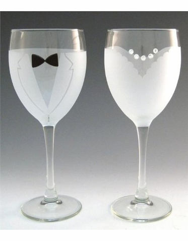 Etched Glass Bride and Groom Wine Glass Set