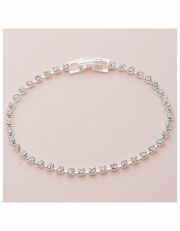 1-Row Silver Tennis Bracelet with Clear Crystal
