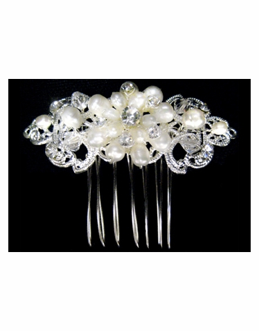 Freshwater Pearl and Rhinestone Hair Piece