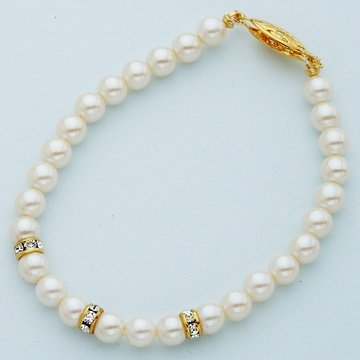 Ivory Pearl Bracelet with Gold Crystal Rondelles