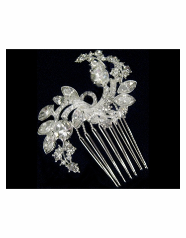 Crystal and Rhinestone Hair Comb-2298