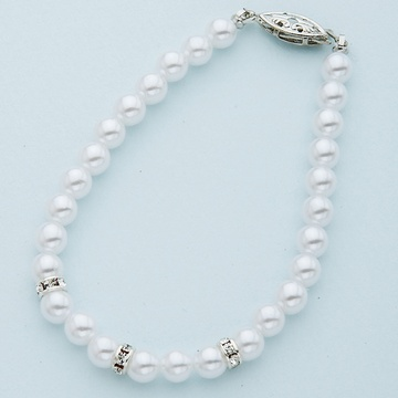 White Pearl Bracelet with Silver Crystal Rondelles