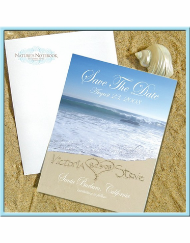 Set of 50 Personalized Beach Save the Date Cards