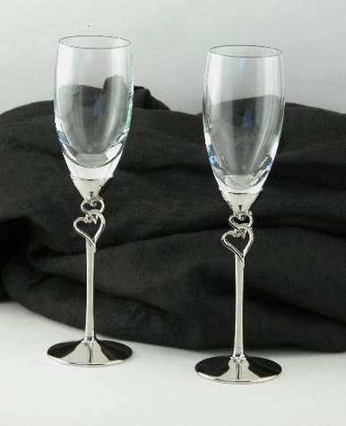 Double Hearts Champagne Flutes