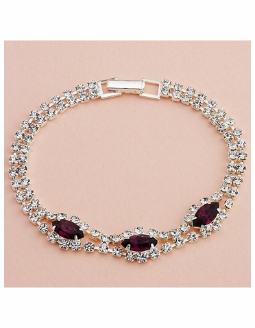 Silver Bracelet with Marquise Crystals