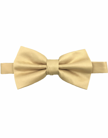 Champagne / Light Gold Satin Bow Tie - Luxury Matte Satin Bow Tie with Adjustable Clasp