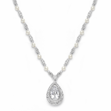 Stunning Zirconia Teardrop And Pearl Necklace
