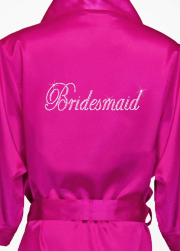 Rhinestone Bridesmaid Satin Robe