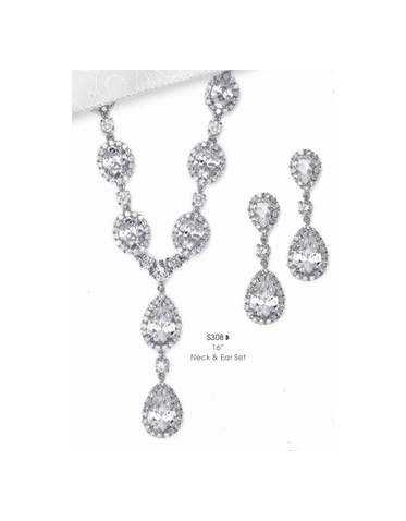 CZ Necklace and Earring Set S308