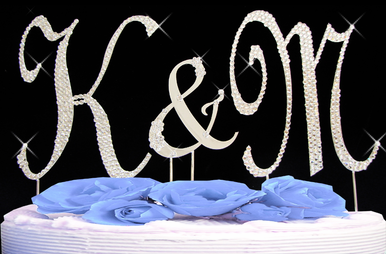 Fully Encrusted Crystal Cake Initials and Small Flower Ampersand