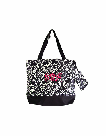 Personalized Black and White Damask Tote Bag
