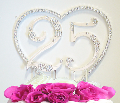Renaissance Heart and Crystal Flower Numbers Cake Topper