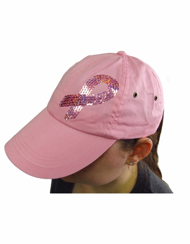 Pink Ribbon Sequin Hat in White or Pink