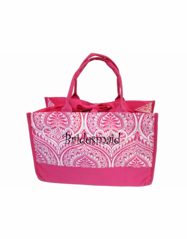 Personalized Kensington Pink and White Tote Bag with Side Pockets