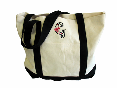 Custom Embroidered Initial Tote with Fancy Letter