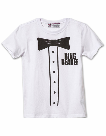 Fun Tuxedo Shirt Print Ring Bearer Tee