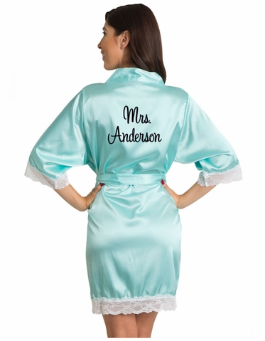 Embroidered Satin Robes with White Lace Trim