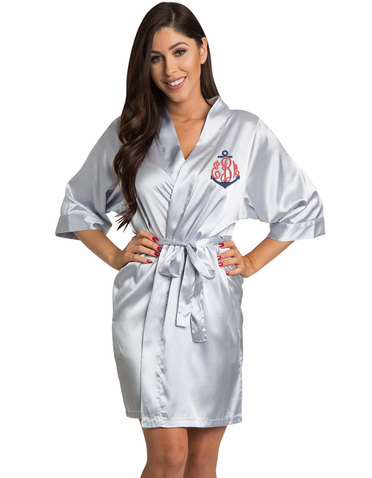 Monogrammed Bridal Party Robe with Anchor Monogram