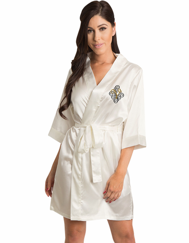 Fancy Adorned Initial Embroidered Bridal Party Robe