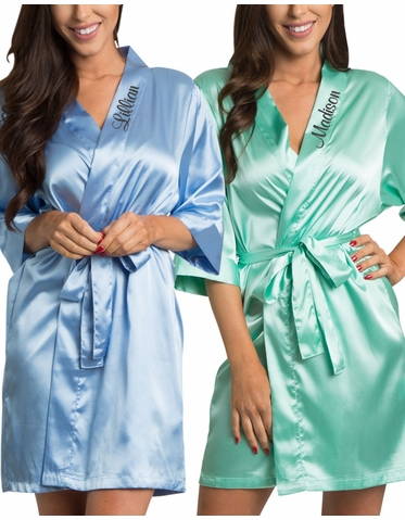 Silky Satin Robe with Embroidered Collar