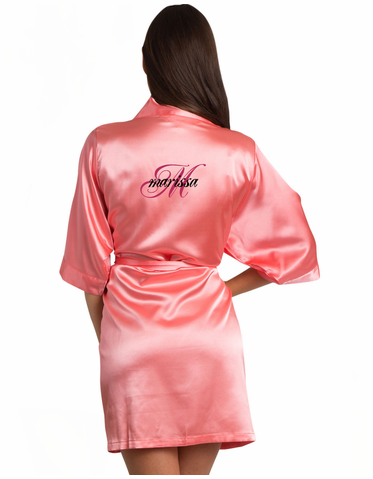 Custom Personalized Satin Bridal Robe - Personalized Bridesmaid Robes