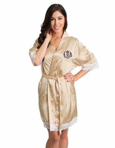 Lace Satin Bridal Robe with Monogram