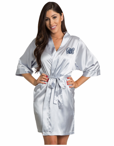 Embroidered Satin Robe with Calligraphy Style Initial