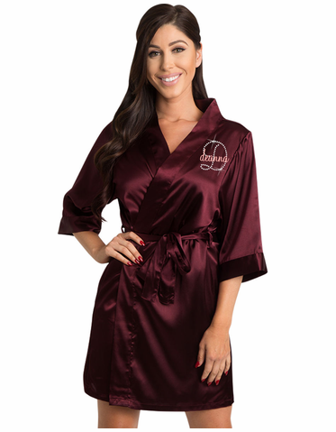 Satin Robe with Embroidered Name and Rhinestone Initial