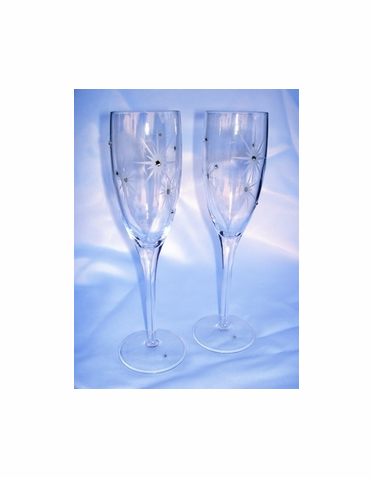 Twinkle Star Toasting Flutes with Crystals