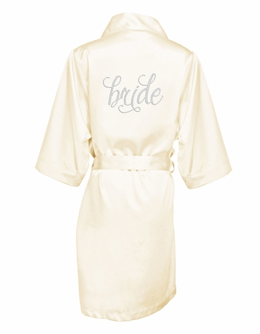 Silky Satin Bridal Party Robes with Pretty Script Font