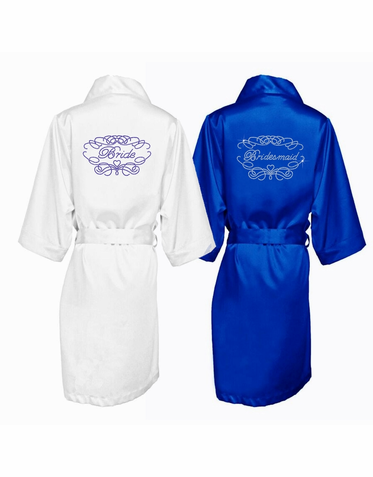 Crystal Embellished Bridal Party Robe with Fancy Heart Frame