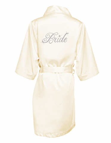 Satin Bridal Party Robe Embellished with Crystals