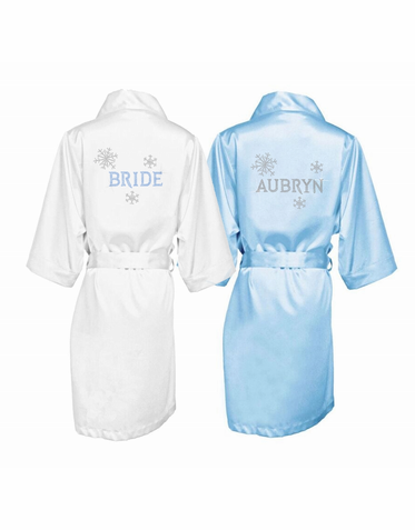 Winter Snowflake Satin Bridal Party Robe