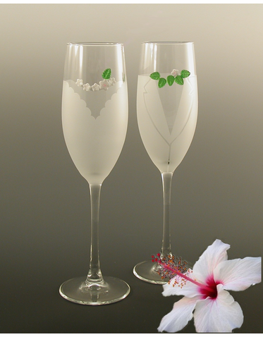 Hawaiian Wedding Flutes - Tropical Wedding Toasting Glasses