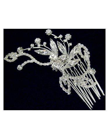 Flower Rhinestone Hair Comb-2328