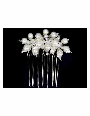 CLEARANCE: Silver Pearl Hair Comb-S2322