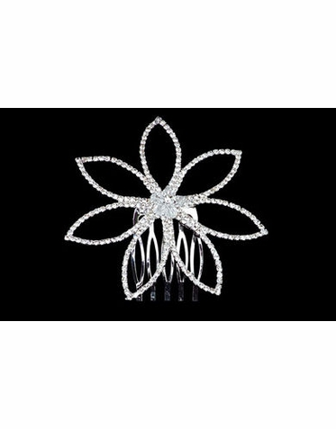 Large Flower Rhinestone Side Comb TRS1293